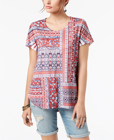 Style & Co Patchwork-Print T-Shirt, Created for Macy's