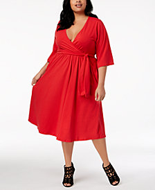Rebdolls Plus Size Belted Skater Dress from The Workshop at Macy's
