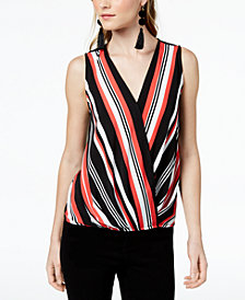 Bar III Sleeveless Striped Surplice Top, Created for Macy's
