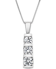 "Diamond Graduated Three-Stone Pendant Necklace (1 ct. t.w.) in 14k White Gold, 18"" + 2"" extender"