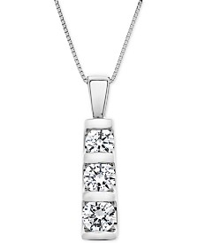 """Diamond Graduated Three-Stone Pendant Necklace (1 ct. t.w.) in 14k White Gold, 18"""" + 2"""" extender"""