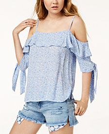 One Hart Juniors' Floral Cold-Shoulder Top, Created for Macy's
