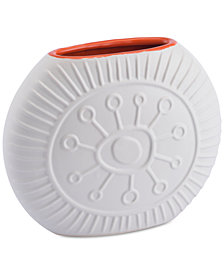 Zuo Stampa Matte White & Orange Small Vase