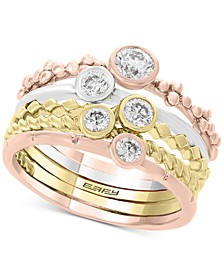 EFFY® 5 Pc. Set Diamond Tricolor Stacking Rings (5/8 ct. t.w.) in 14k Gold, White Gold & Rose Gold