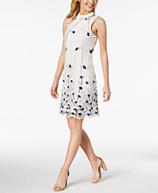 Ivanka Trump Tie-Neck Floral Embroidered Dress