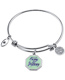 "Unwritten ""Enjoy the Journey"" Enamel Charm Bangle Bracelet in Stainless Steel"
