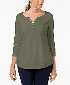 Karen Scott Cotton Stud-Embellished Top, Created for Macy's