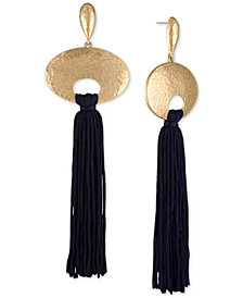 RACHEL Rachel Roy Gold-Tone Hoop & Tassel Linear Drop Earrings