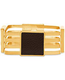 Steve Madden Gold-Tone Leather Multi-Row Bangle Bracelet