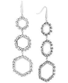 Steve Madden Silver-Tone Crystal Ring Triple Drop Earrings