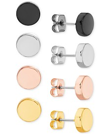 Steve Madden Multi-Tone 4-Pc. Set Circle Stud Earrings