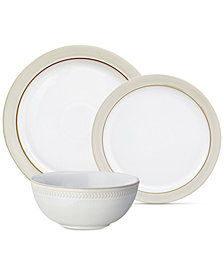 Denby Natural Canvas 12-Piece Set/with Chevron Bowls