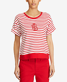 Lauren Ralph Lauren Monogram Striped Cotton Top