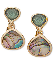 Anne Klein Gold-Tone Abalone-Look E-Z Comfort Clip-on Drop Earrings
