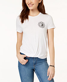 Pretty Rebellious Juniors' Magic Knot-Front Graphic T-Shirt
