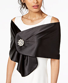 Adrianna Papell Satin Cape with Brooch