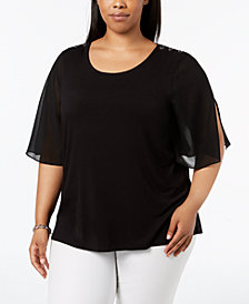 Calvin Klein Plus Size Button-Detail Flutter-Sleeve Top