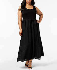 Calvin Klein Plus Size Lace-Skirt Maxi Dress