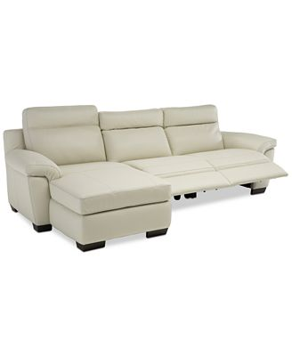 Furniture Julius Ii 3 Pc Leather Chaise Sectional Sofa With 2 Power