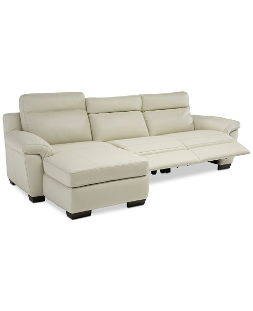 Furniture Julius II 3-Pc. Leather Chaise Sectional Sofa With 2 Power ...