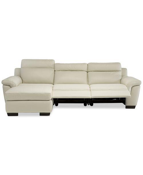 Furniture Julius Ii 3 Pc Leather Chaise Sectional Sofa