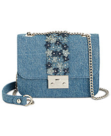 I.N.C. Quiin Denim Chain Strap Crossbody, Created for Macy's