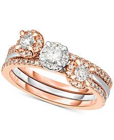 Diamond 3-Pc. Ring Set (3/4 ct. t.w.) in 14k White & Rose Gold
