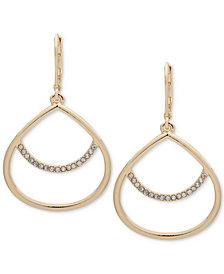 Anne Klein Pavé Drop Hoop Earrings