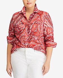 Lauren Ralph Lauren Plus Size Paisley-Print Shirt