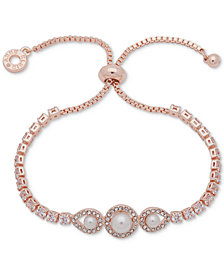 Anne Klein Rose Gold-Tone Crystal & Imitation Pearl Slider Bracelet