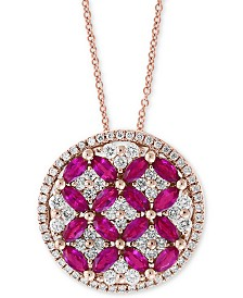 "Amoré by EFFY® Certified Ruby (1-1/2 ct. t.w.) & Diamond (7/8 ct. t.w.) 18"" Pendant Necklace in 14k Rose Gold"