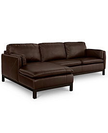 Ventroso 2-Pc. Leather Chaise Sectional Sofa, Created for Macy's