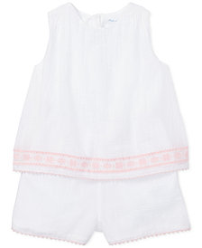 Polo Ralph Lauren Baby Girls Embroidered Cotton Romper