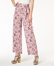 One Hart Juniors' Floral-Print Wide-Leg Pants, Created for Macy's