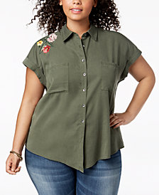 Style & Co Plus Size Embroidered Shirt, Created for Macy's