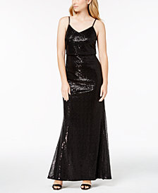 Calvin Klein Draped Sequin Gown