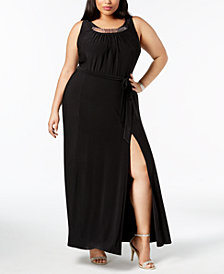 R & M Richards Plus Size Hardware-Embellished Maxi Dress