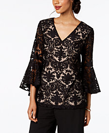 MSK Bell-Sleeve Damask Lace Blouse