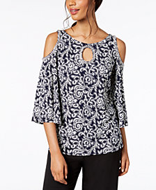 MSK Embellished Printed Cold-Shoulder Top
