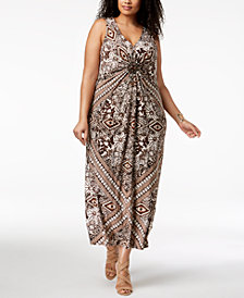 R & M Richards Plus Size Embellished Maxi Dress