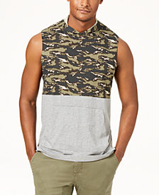 American Rag Men's Colorblocked Sleeveless Hoodie, Created for Macy's