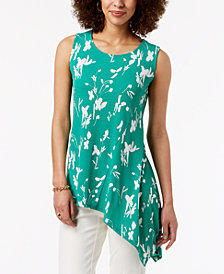 Alfani Petite Asymmetrical-Hem Sleeveless Top, Created for Macy's