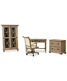 Brompton Home Office, 4-Pc. Furniture Set (Writing Desk, File Cabinet, Bookcase & Upholstered Desk Chair)