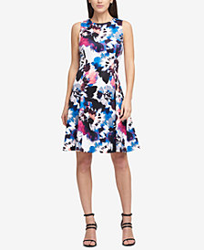 DKNY Flower Pond Scuba Fit & Flare Dress, Created for Macy's