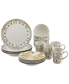 Ikat 16-Pc. Dinnerware Set, Service for 4