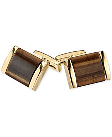 Men's Tiger's Eye Cuff Links in Gold Tone Ion-Plated Stainless Steel