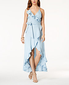 GUESS Ruffled Cotton Wrap Maxi Dress