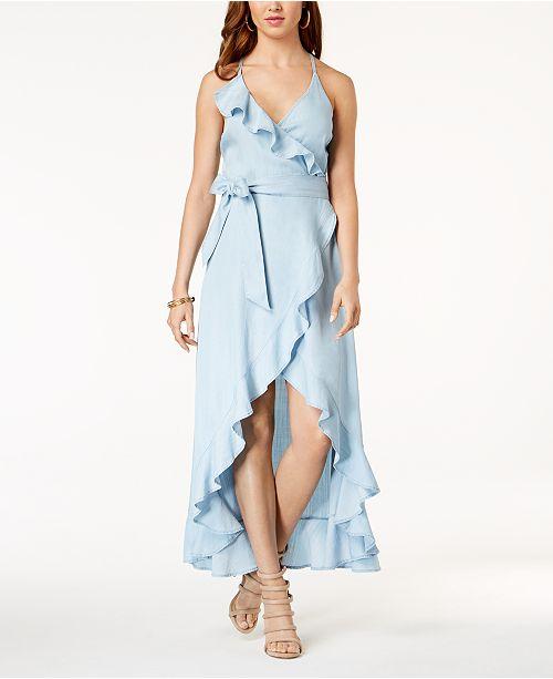 ccf7ed00ccb GUESS Ruffled Cotton Wrap Maxi Dress   Reviews - Dresses - Juniors ...