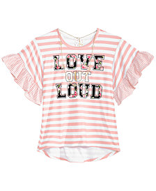 Belle Du Jour Big Girls 2-Pc. Striped Bell-Sleeve Top & Necklace Set