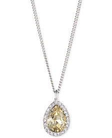 "Givenchy Silver-Tone Crystal & Stone Pendant Necklace, 16"" + 3"" extender, Created for Macy's"